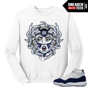 Jordan 11 Midnight Navy White Sweater Medusa 11