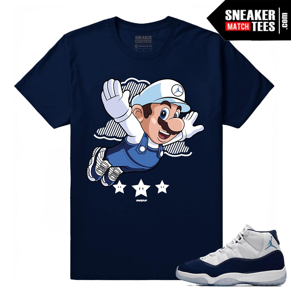 f0eacde3d32 Jordan 11 Midnight Navy t shirt Fly Mario - Sneaker Match Tees
