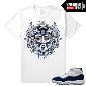Jordan 11 Sneaker tees Midnight Navy White T shirt Medusa 11