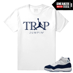 Jordan 11 Sneaker tees Midnight Navy White T shirt Trap Jumpin