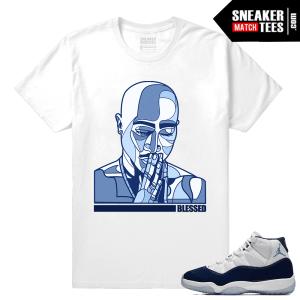 Jordan 11 Sneaker tees Midnight Navy White Tupac Praying hands