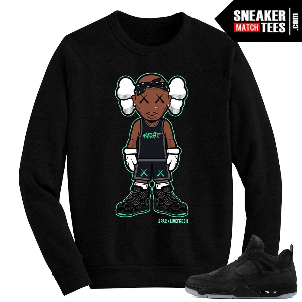 6deb6a7b8902d4 Kaws Jordan 4 Black Crewneck Sweater 2Pac Kaws - Sneaker Match Tees