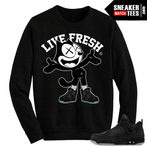 Kaws Jordan 4 Black Crewneck Sweater Kaws Felix the Cat