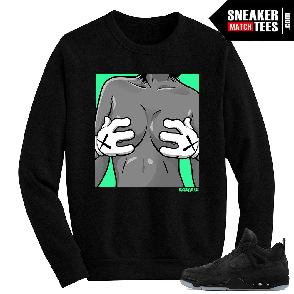 d85d90e8373018 Kaws Jordan 4 Black Crewneck Sweater Kaws Hands
