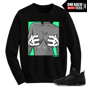 Kaws Jordan 4 Black Crewneck Sweater Kaws Hands