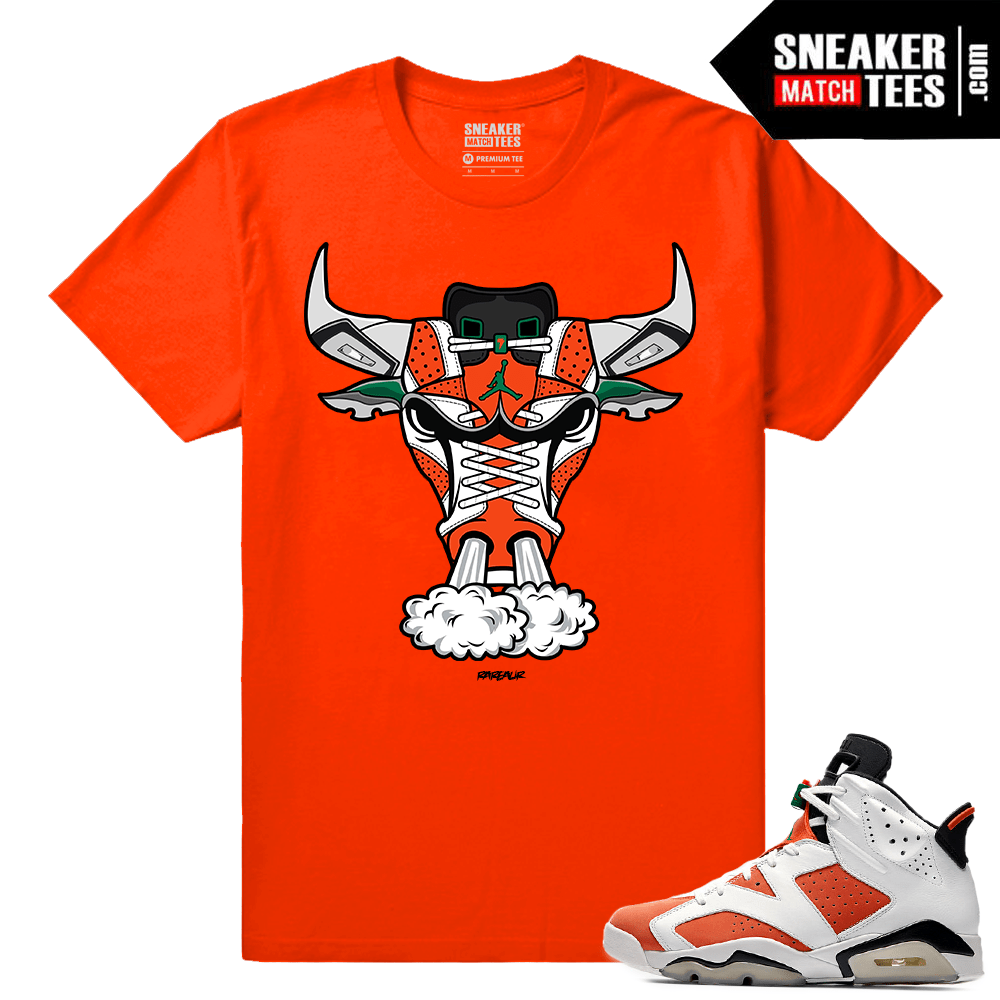 992270019f1 Gatorade 6s Sneaker tees Orange 6s Bull - Sneaker Match Tees