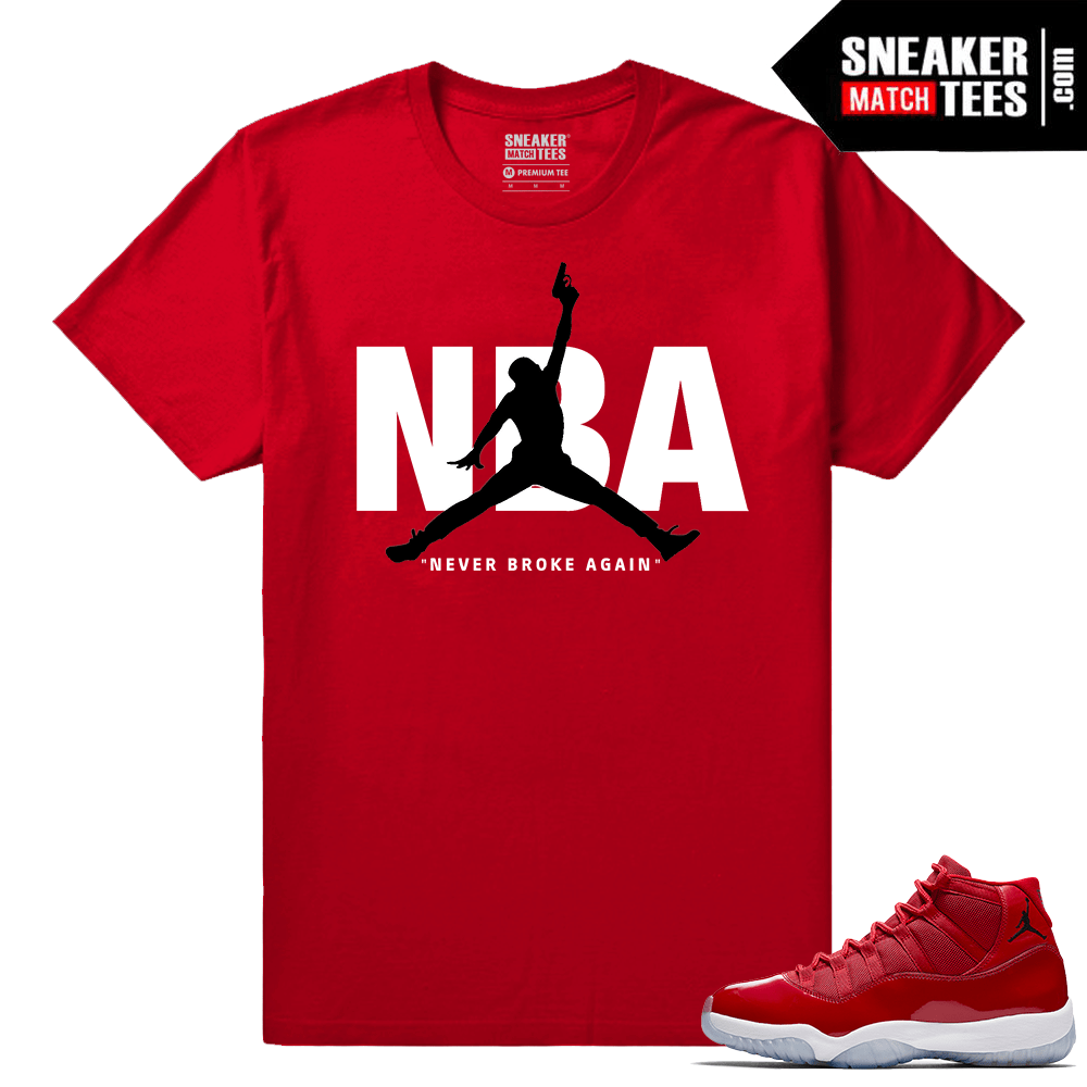 Jordan 11 Win Like 96 Sneaker tees Red Never Broke NBA
