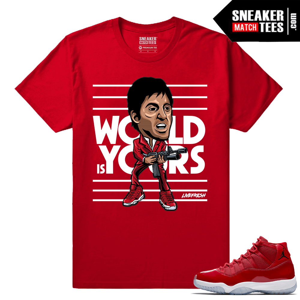 Jordan 11 Win Like 96 T shirt Red Montana Fresh