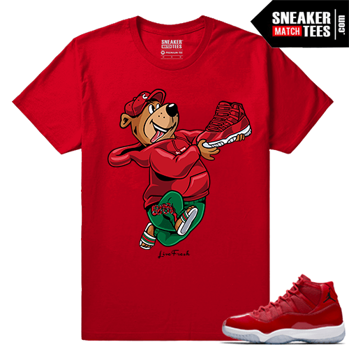 Jordan 11 Win Like 96 Sneaker tees Red Live Fresh Yogi