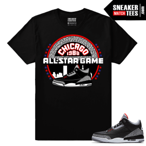 Jordan 3 Black Cement Sneaker tees All Star Game 88 Debut