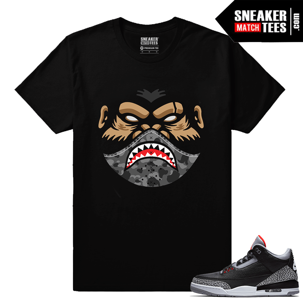 Jordan 3 Black Cement Sneaker tees Dxpe Ape x Shark Mask