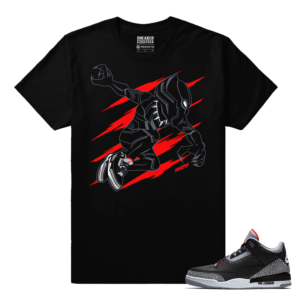 Jordan 3 Black Cement Sneaker tees Black Panther x Cement 3