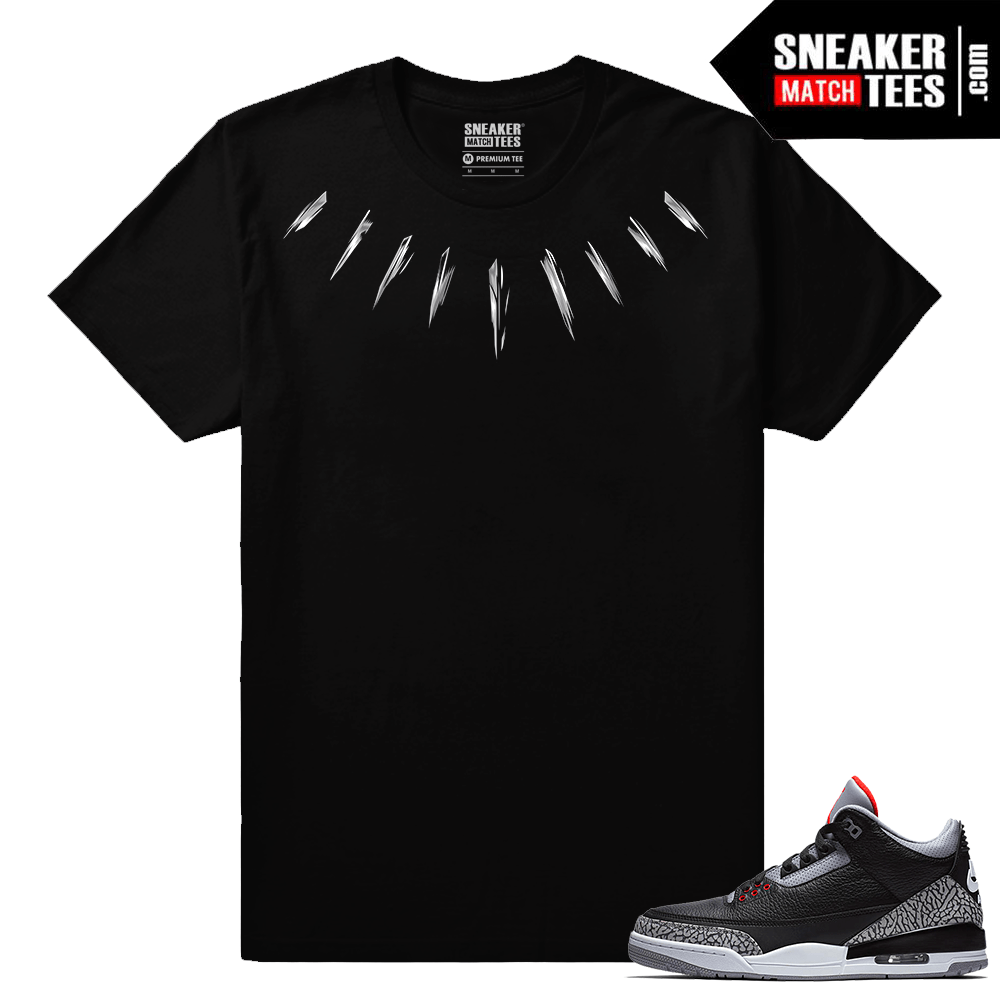 Jordan 3 Black Cement Sneaker tees Black Panther