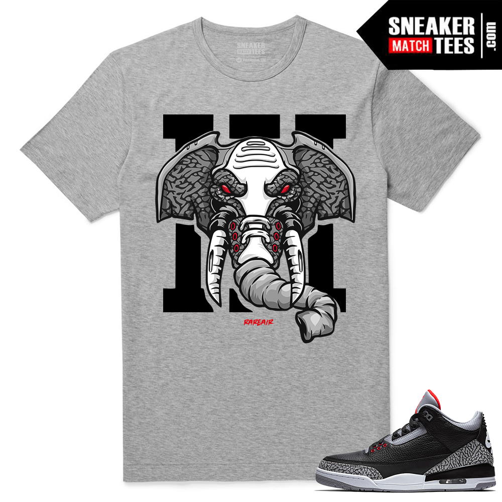 Jordan 3 Black Cement Sneaker tees Heather Grey Rare Air Elephant
