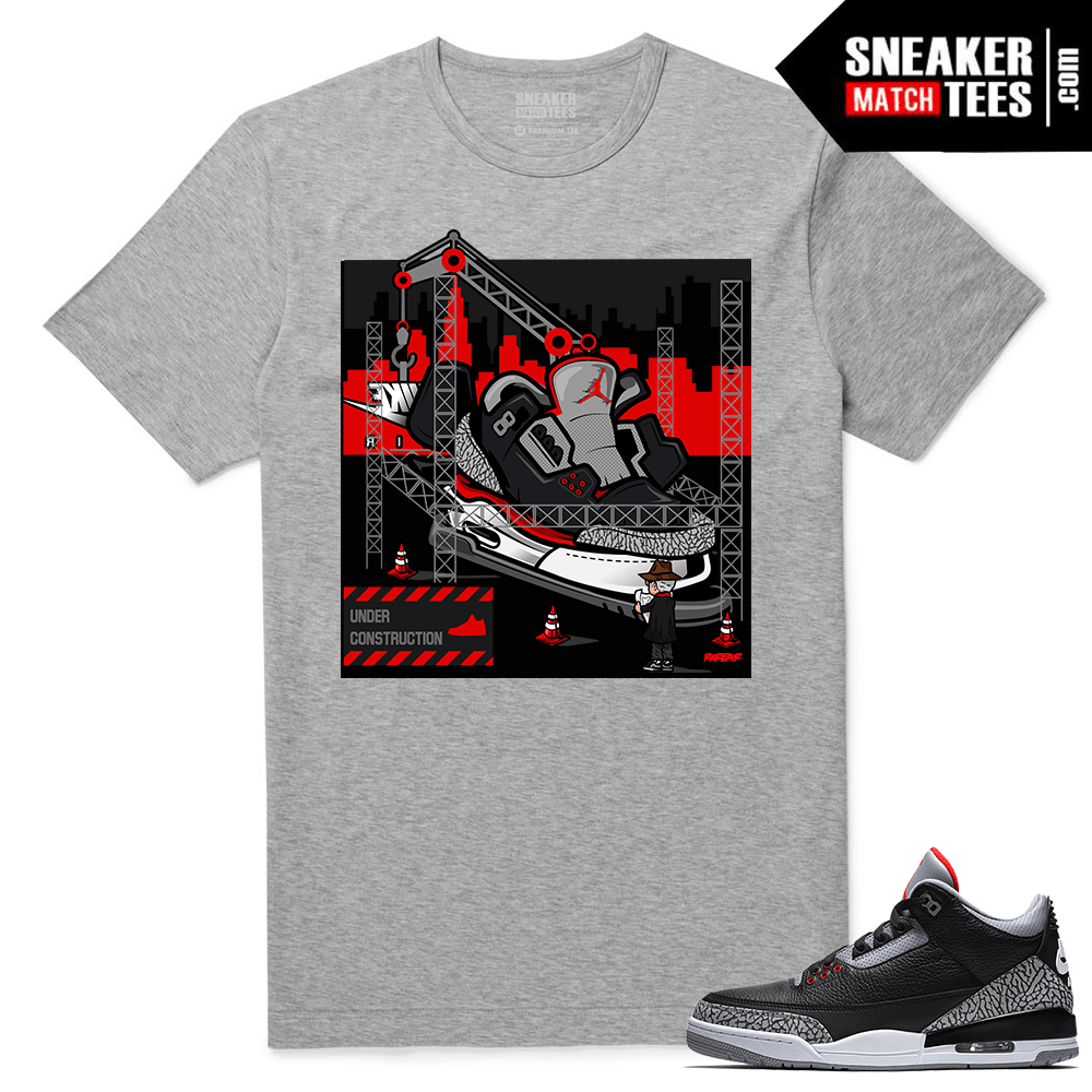 wholesale dealer 284f5 099a8 Jordan 3 Black Cement Sneaker tees Heather Grey Tinker Hatfield Architect