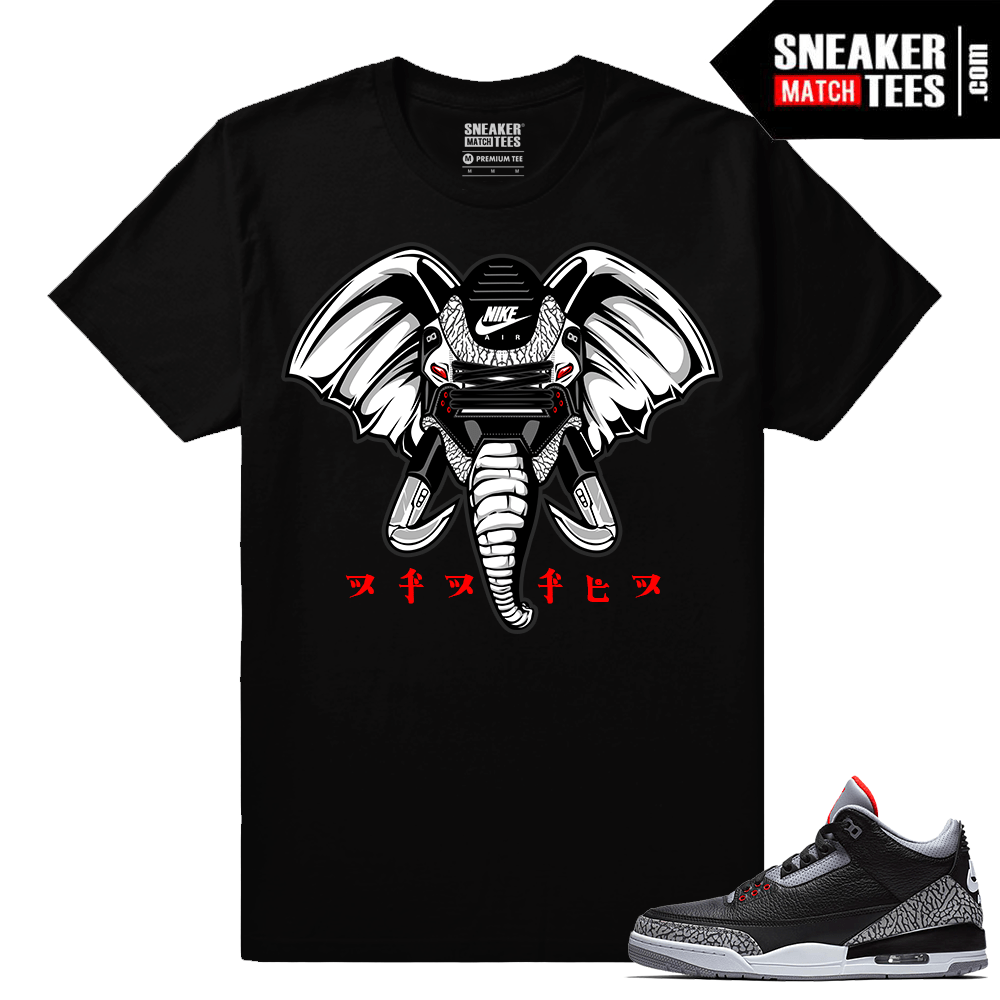 Jordan 3 Black Cement Sneaker tees Rare Air Elephant 3