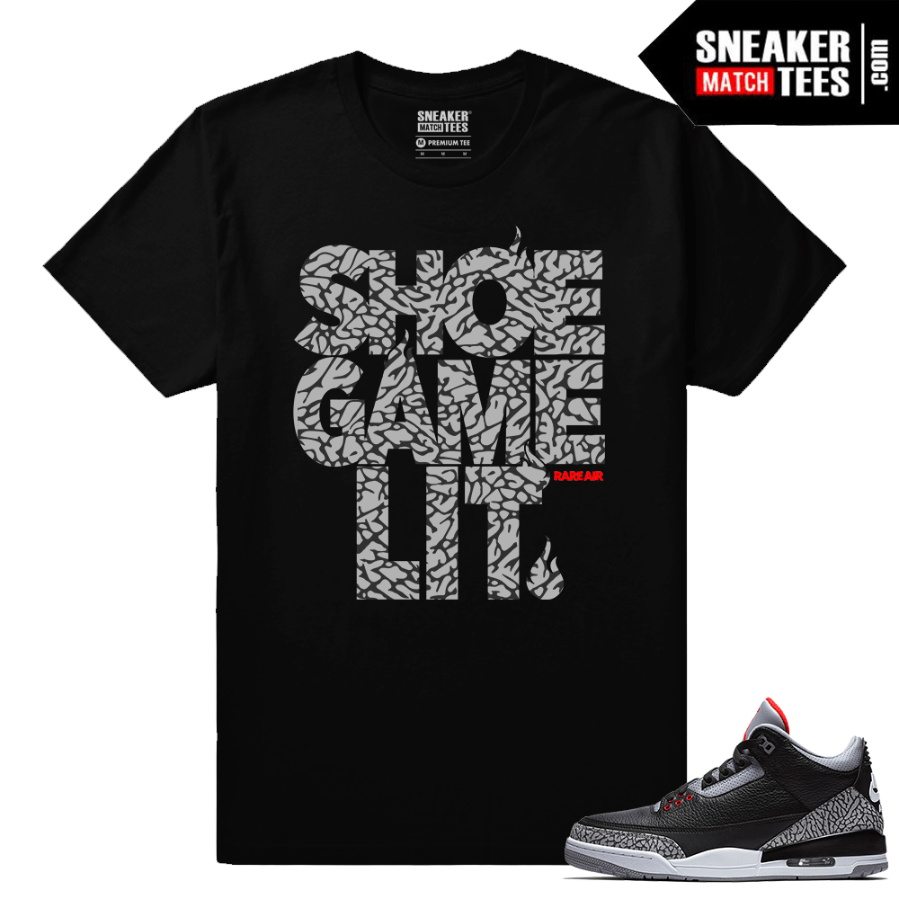 Jordan 3 Black Cement Sneaker tees Shoe Game Lit