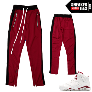 Maroon 6s Stripe Track Pants Burgandy Black