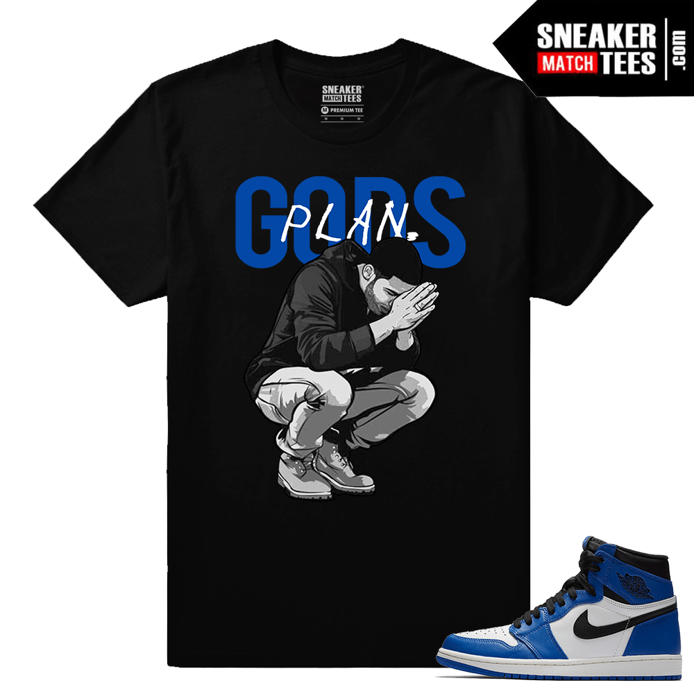 Jordan 1 Game Royal Sneaker Match Tees Black Gods Plan