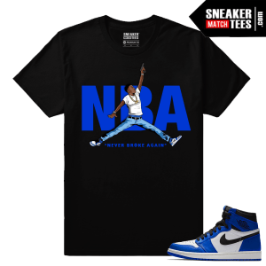 Jordan 1 Game Royal Sneaker Match Tees Black NBA YoungBoy