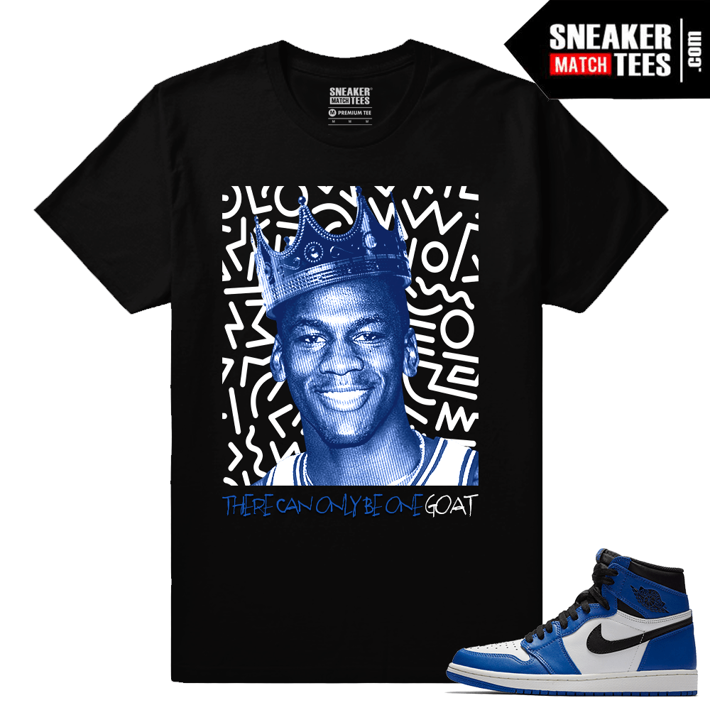 Jordan 1 Game Royal Sneaker Match Tees Black One Goat