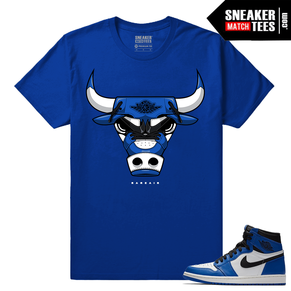 Jordan 1 Game Royal Sneaker Match Tees Royal Rare Air Bull 1s