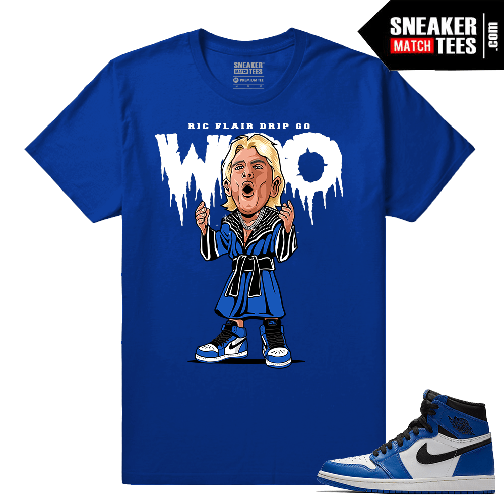 Jordan 1 Game Royal Sneaker Match Tees Royal Ric Flair WOO