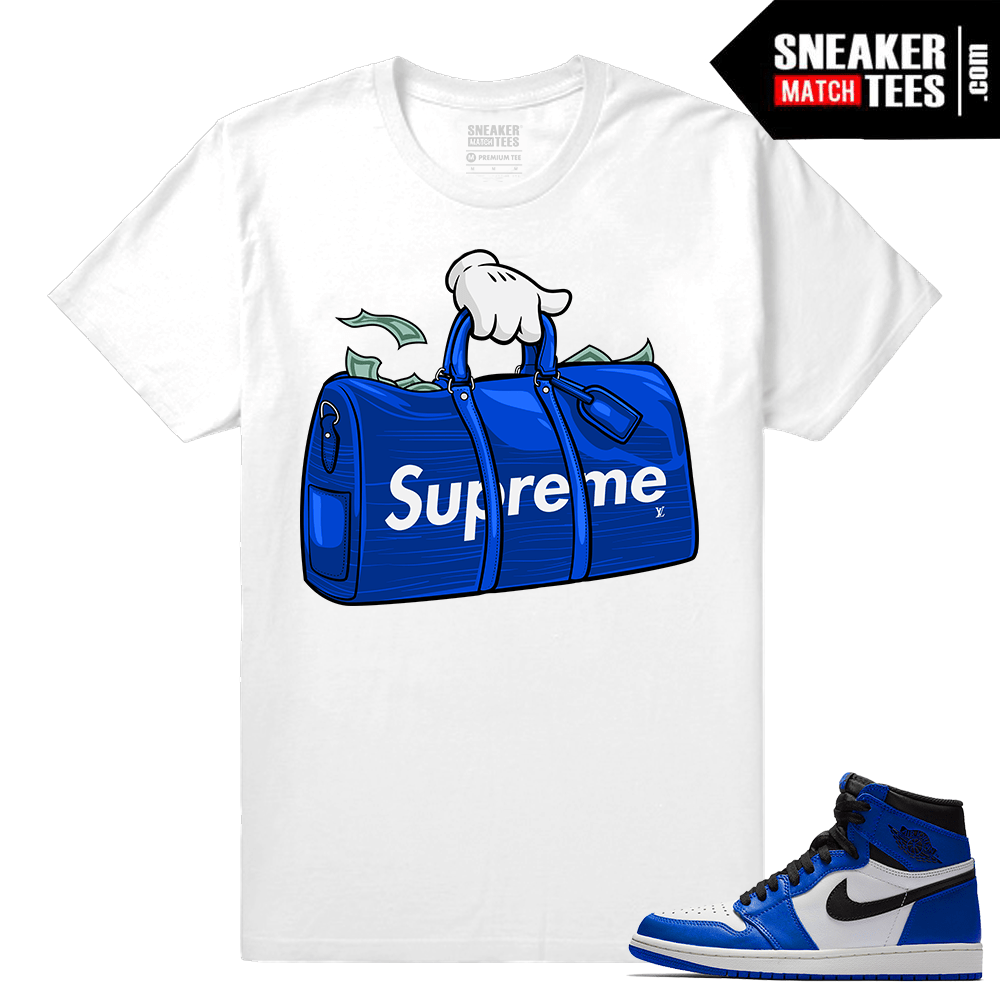 Jordan 1 Game Royal Sneaker Match Tees Supreme Bag