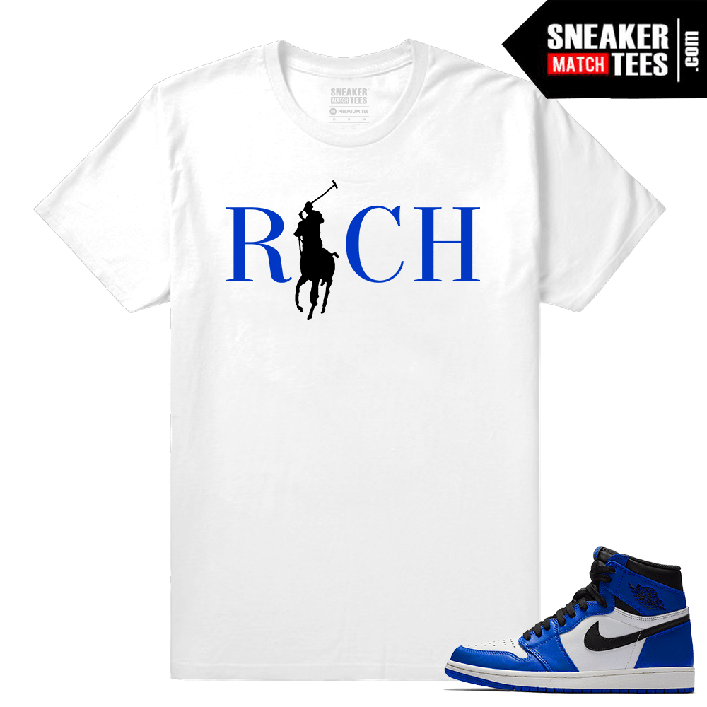 Jordan 1 Game Royal Sneaker Match Tees White Country Club Rich