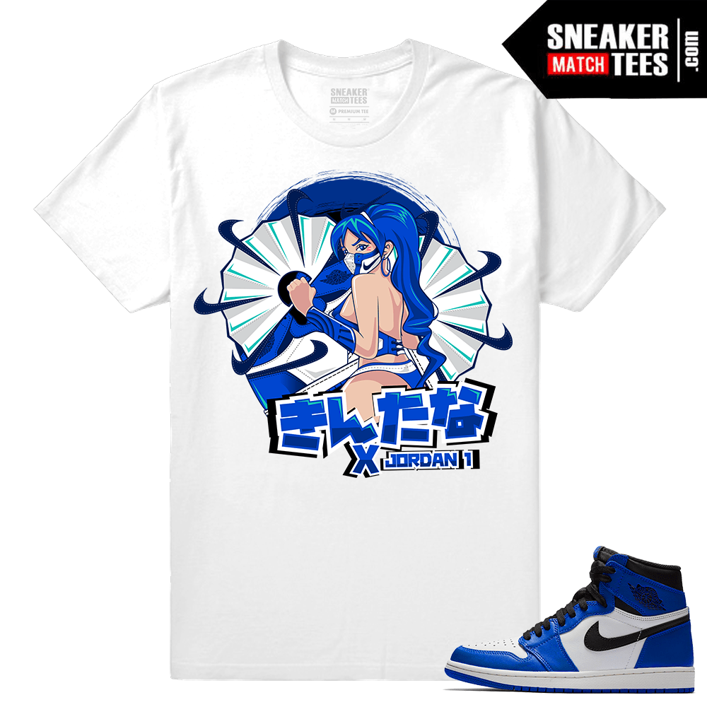 Jordan 1 Game Royal Sneaker Match Tees White Kitana x Jordan 1