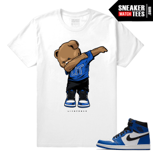 Jordan 1 Game Royal Sneaker Match Tees White Polo Dabin Bear