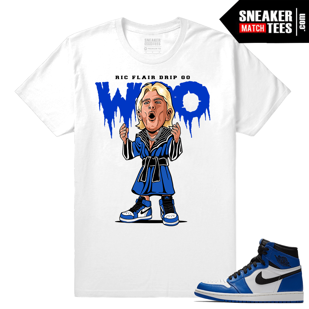 Jordan 1 Game Royal Sneaker Match Tees White Ric Flair WOO