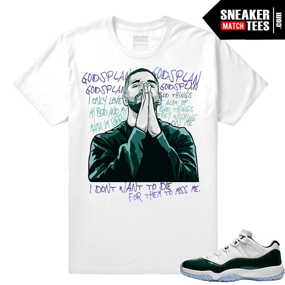 10c2d4a45f6880 Jordan-11-Low-Emerald-Sneaker-Match-Tees-Gods-Plan-Drake.png