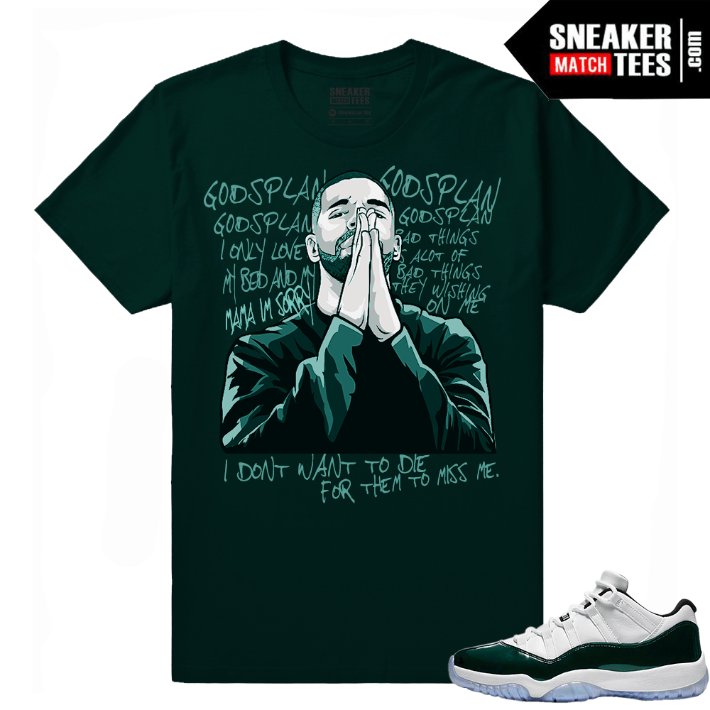22a409fcb2b00 Jordan 11 Low Emerald Sneaker Match Tees Green Gods Plan Drake