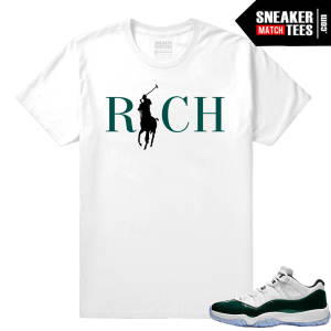 Jordan 11 Low Emerald Sneaker Match Tees White Country Club Rich