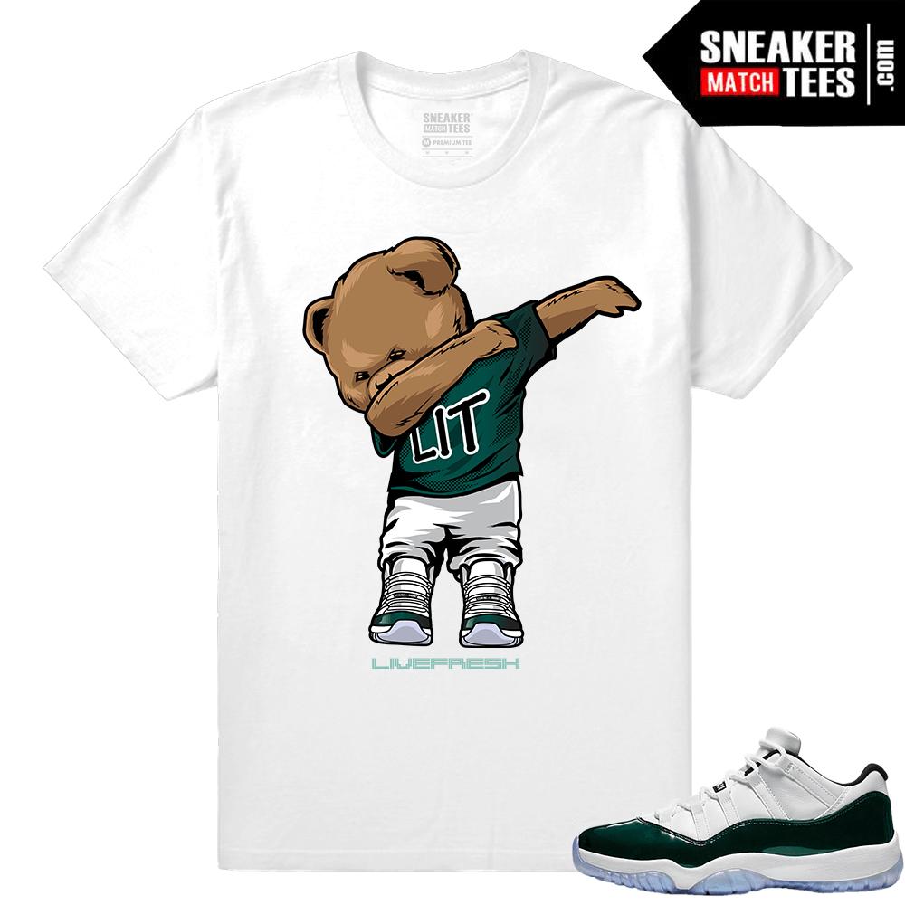 17505f8e90d85 Jordan 11 Low Emerald Sneaker Match Tees White Dabin Polo Bear