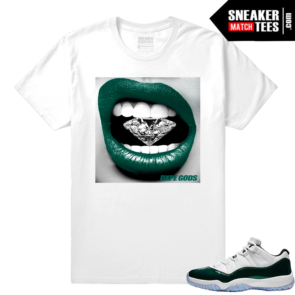 8becc9f5120463 Jordan 11 Low Emerald Sneaker Match Tees White Diamond lips