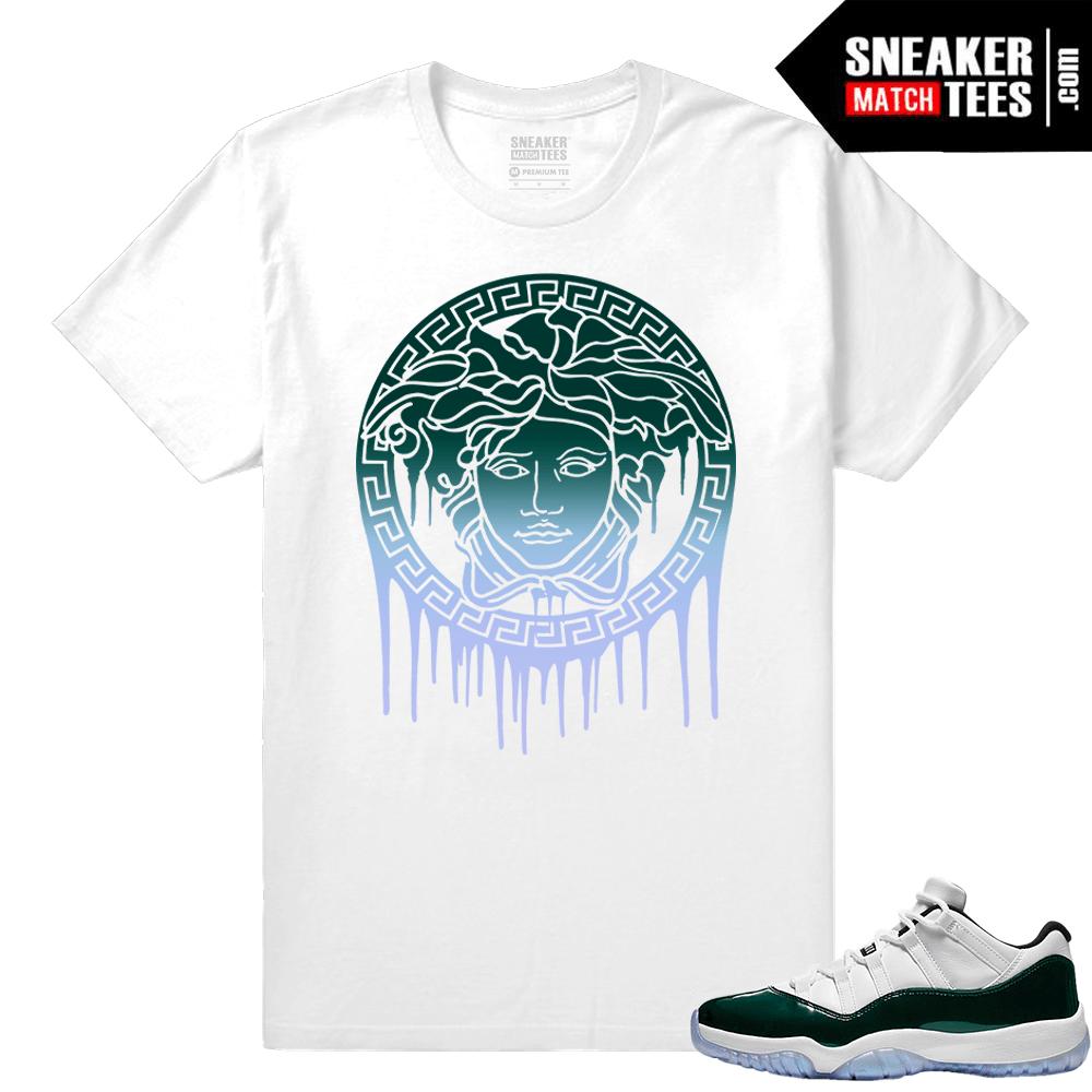 7b3a74555f9e5b Jordan 11 Low Emerald Sneaker Match Tees White Medusa Drip