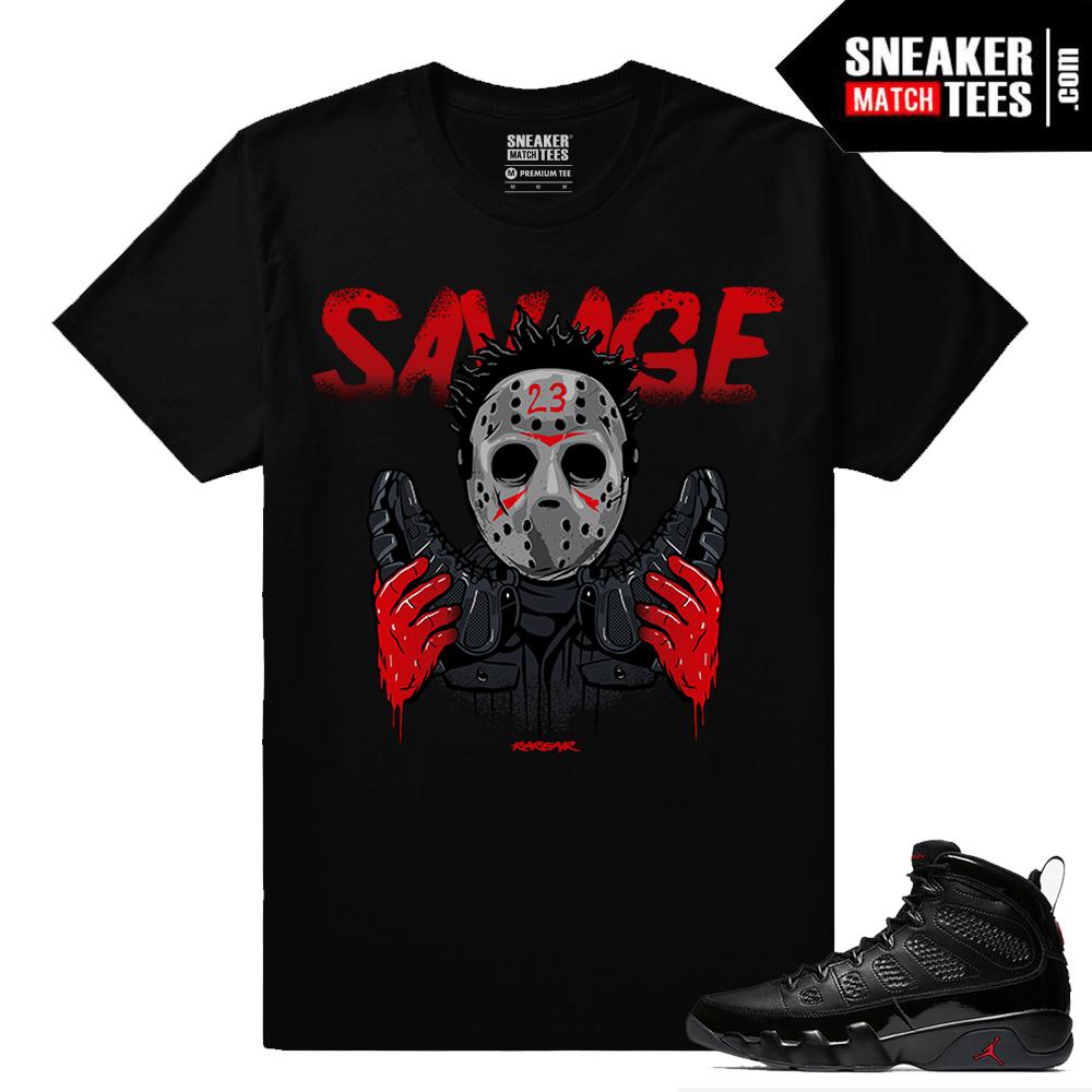 buy online 8a45b 89024 Jordan 9 Bred Sneaker Match Tees Black 23 Savage
