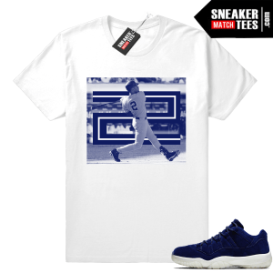 Jordan 11 Low Jeter Respect Binary Blue shirt