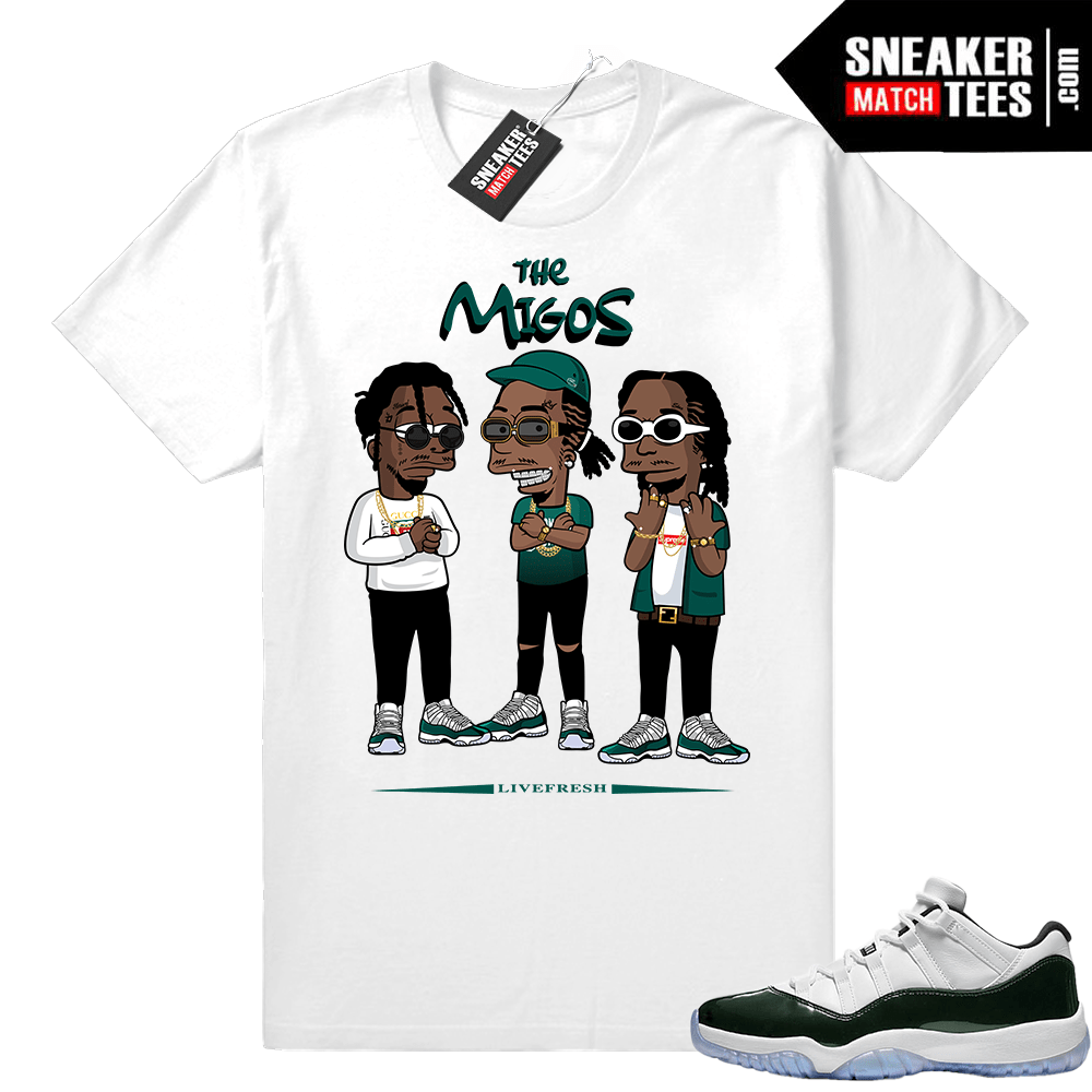 finest selection 71780 b8ba2 Migos t shirt White Emerald 11 lows