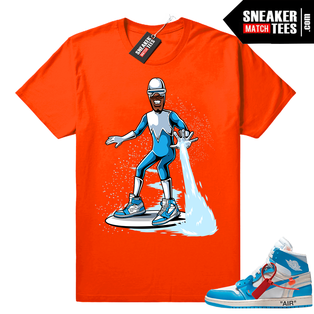 purchase cheap 47f07 748ee Frozone wearing Off white Jordan 1 Shirt • Orange Tee