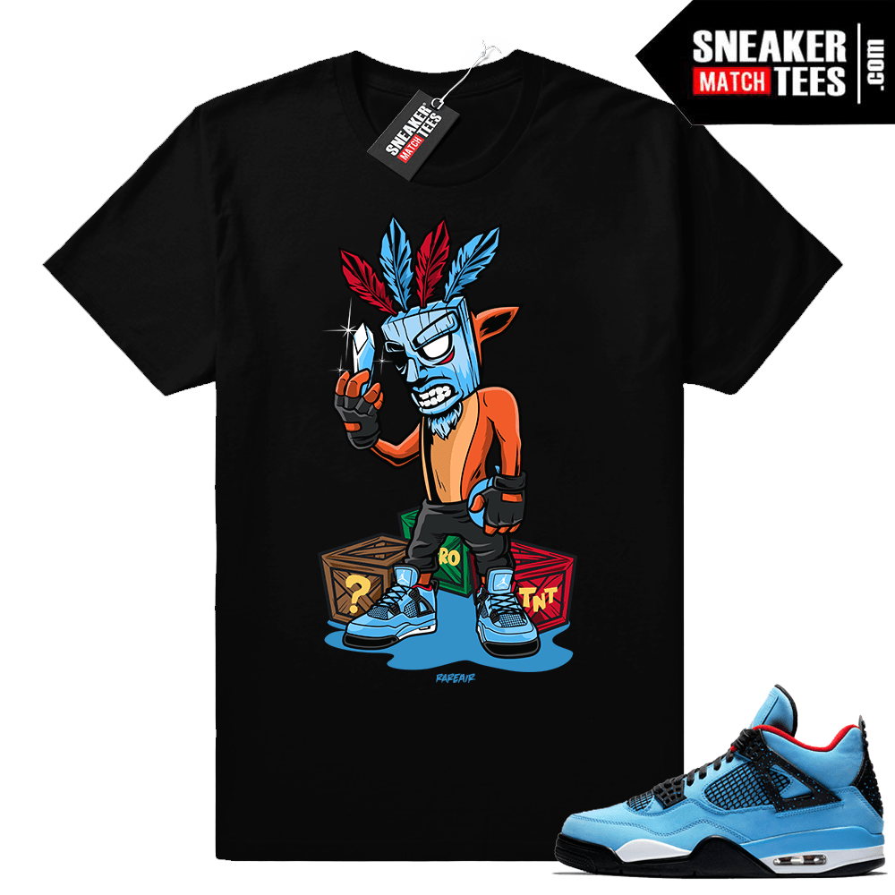 Jordan 4 Cactus Jack Crash Bandicoot shirt