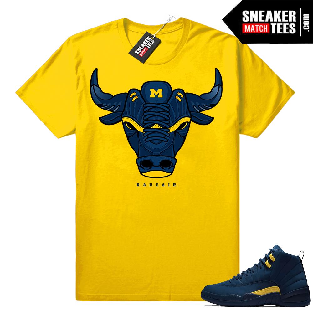 4b389f4edc11 Michigan 12s T shirt Yellow - Sneaker Match Tees