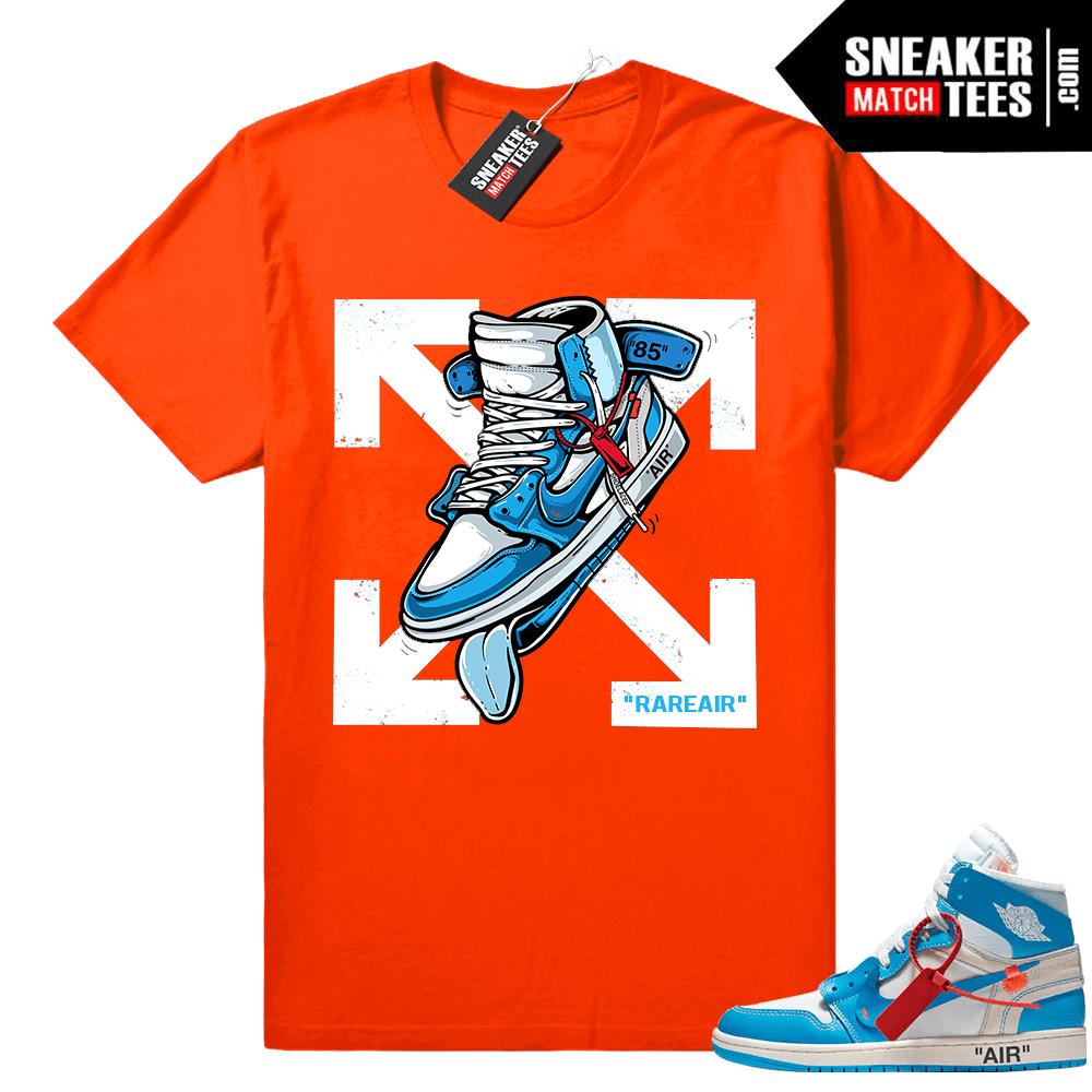 on sale 3400a d5eeb Off white Jordan 1 UNC shirt • Fly Kicks • Orange Tee