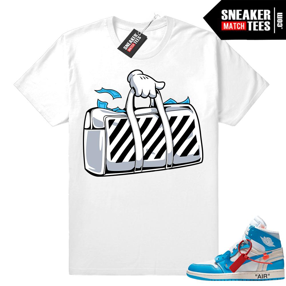 b8d0151bd54 Off white Jordan 1 UNC sneaker shirt - Sneaker Match Tees