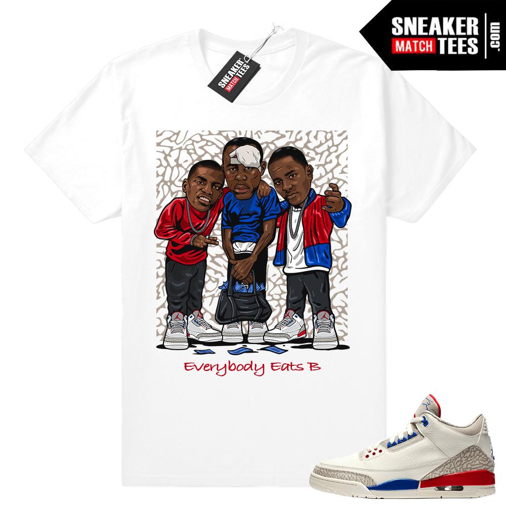 new style 3f6aa f9b47 Jordan 3 Charity Game Sneaker tee shirt • Everybody Eats B • White tee