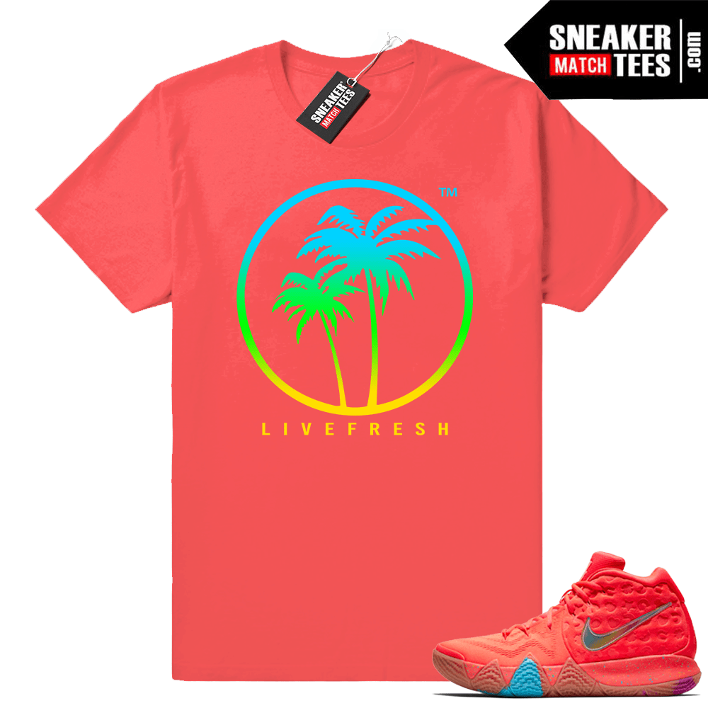 best website 80a0a bea2d Kyrie 4 Lucky Charms Cereal Pack tees • Live Fresh Palm Logo • Coral Red Tee