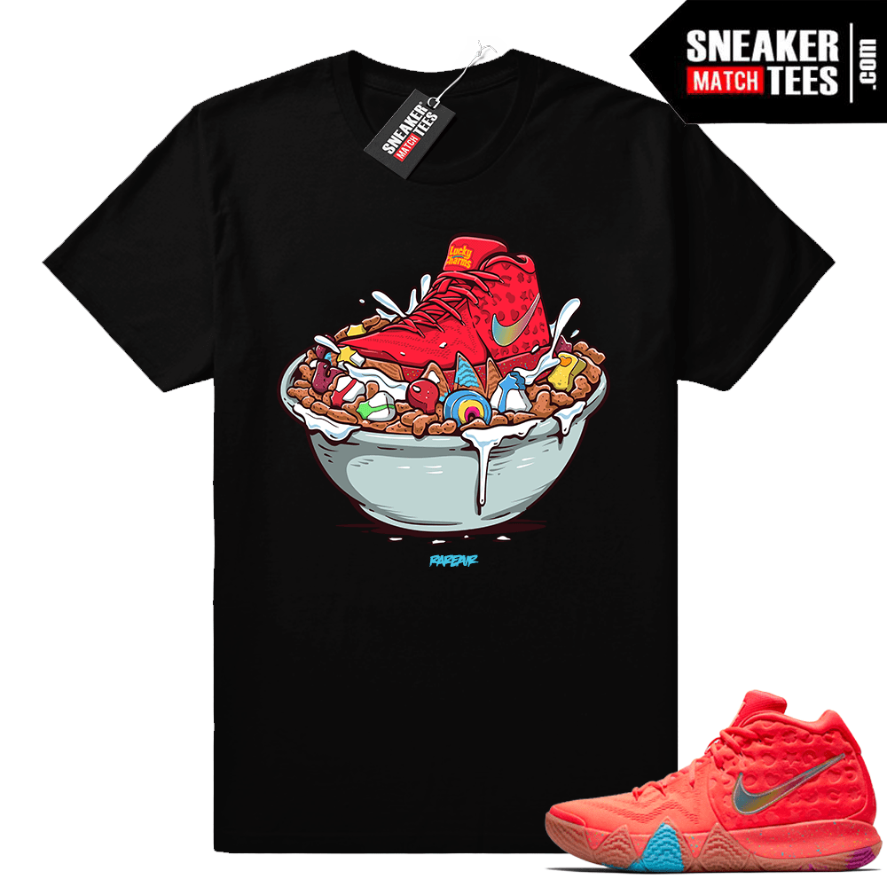 release date: 5b7b9 c404f Nike Kyrie 4 Lucky Charms shirt match • Lucky Charms Bowl • Black Tee