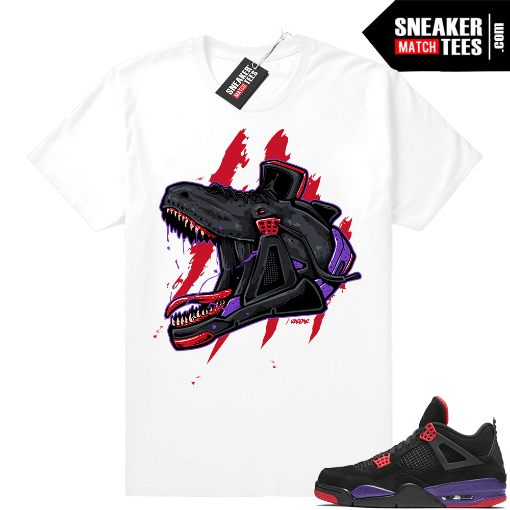 new styles 936ab 82f40 Raptors Jordan Retro 4 shirts • Raptor head 4s • White Tee
